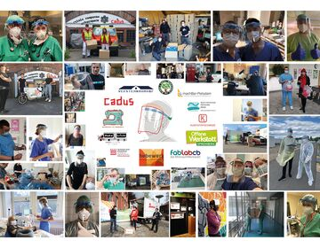 A collage from pictures of face shield users.