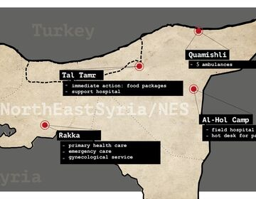 A map of Northeast Syria with locations and brief descriptions of CADUS projects.