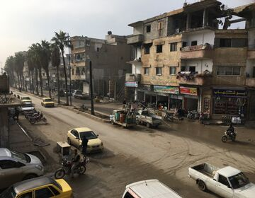 Overview of a street in Raqqa in December 2018